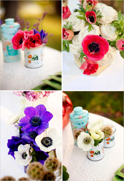 Generally speaking, I am not big into the vintage wedding idea; however, I came across these charming vintage tin can floral arrangements on The Wedding Chicks and could not help but smile. I love them! Speaking of flowers, I am shopping at the Los Angeles Flower District some time this week. For any who live in or near the city, you should too!! BEST (really, the best) deals on flowers, ribbons, vases, and much more! Get there early :)