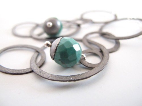 (via medium oxidized metal circles chrysoprase natural stone by iomiss)