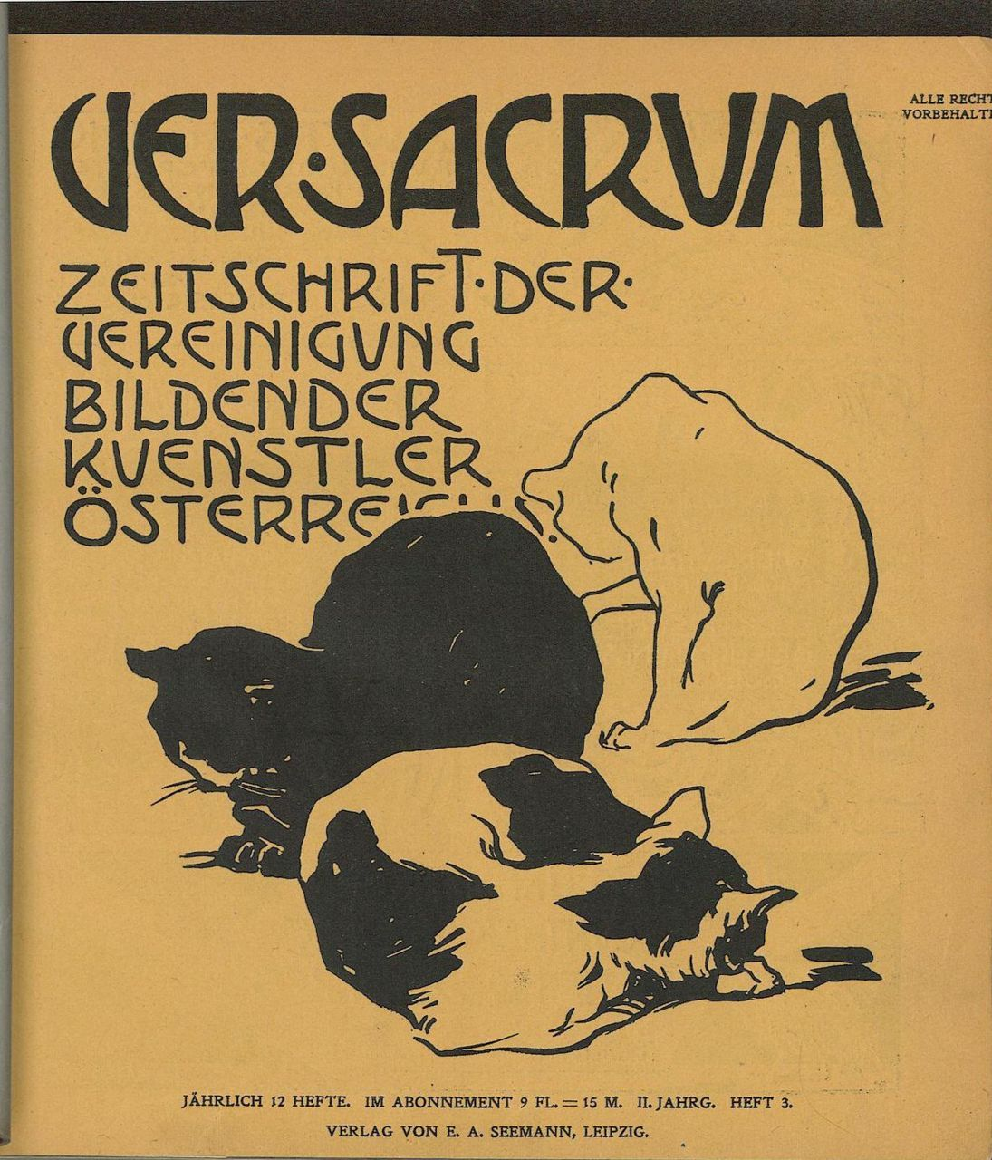 Ver Sacrum,1899 here secluded house—three cats get their shareof rice cakes Issa