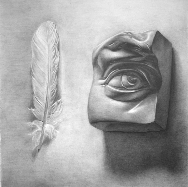 "Xavier Robles de Medina, Allegory for Wisdom, Graphite on paper, 15""x 15"" Find me on Facebook and Blogspot. My ask box is always open :)"