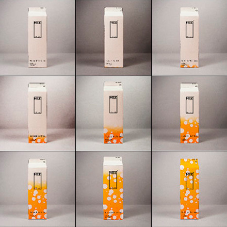 izmia:  Clever Milk Carton Displays Freshness Level - Zekice Tasarlanmış Tazelik Seviyesini görüntüleyen Süt Kartonu  Designer Ko Yang has a new concept for helping shoppers spot expired products both in the store and at home. Named Expiry Date/ The Things Far Away Beyond numbers, it uses a graphic that changes as time passes to better illustrate the freshness of the purchase, in this case milk. The more time that passes, the more the graphic will climb up the carton. This allows for a quick and easy way to see how much longer the product has left or whether you'd be better off throwing it out.
