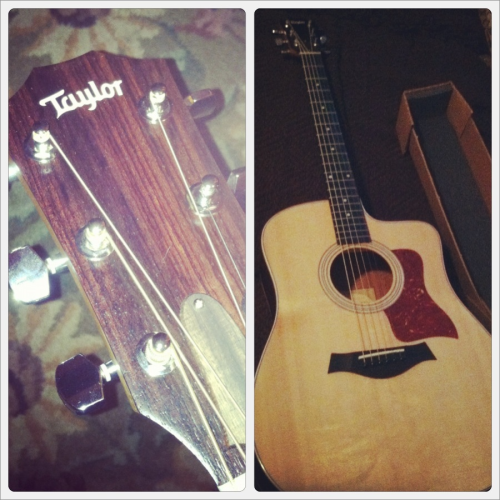 abbyvalencia:  New guitar. It sounds so wonderful. :)  I love Taylor guitars.