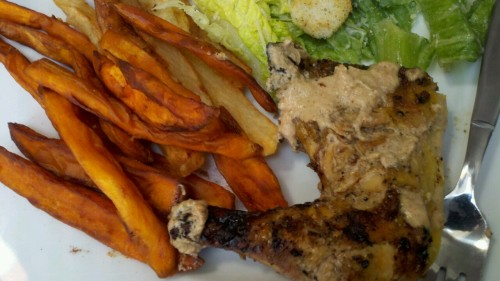 Homemade fries and sweet potato fries and Peri Peri chicken!