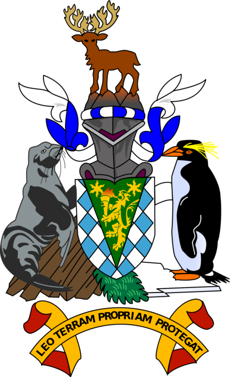 "The coat of arms of South Georgia and the South Sandwich Islands was granted in 1985. The arms consist of a shield containing a golden lion rampant holding a torch, representing the United Kingdom and discovery. The background of the shield is blue and white estoiles, from the arms of James Cook who discovered the islands. The supporters are a fur seal and a Macaroni Penguin, both animals native to the islands. The crest is a reindeer, from the two herds of reindeer found on South Georgia Island. The seal stands on a mountain, while the penguin stands on ice. The motto is Leo Terram Propriam Protegat (Latin: ""[Let the] Lion protect his own land"")."