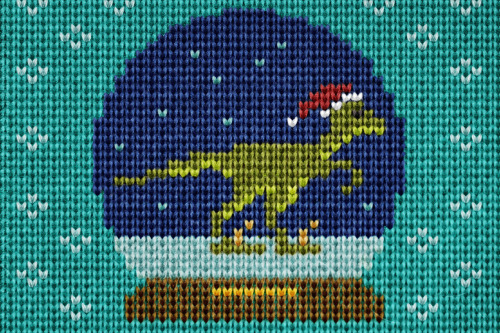 Velociraptor Snow Globe Christmas Sweater