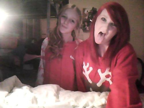 Myself and my beautiful sister in our christmas gear this morning. I love you sweetie!