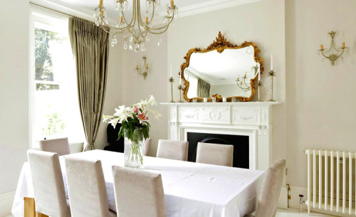 Simple and refined dining room. White is such a refreshing theme. Follow CollegeGuyDesign if you like things like this showing up on your dash!