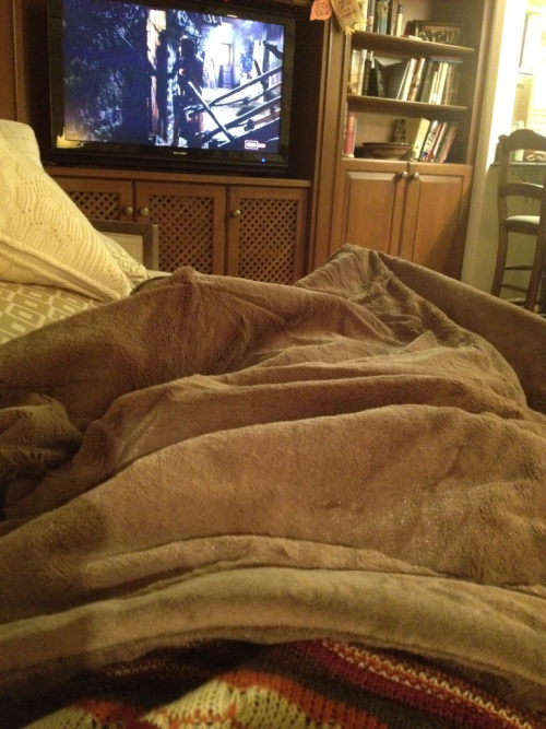 Now I'm snuggling up with my new blanket (thanks, Mom) & watching John Wayne with my Dad!