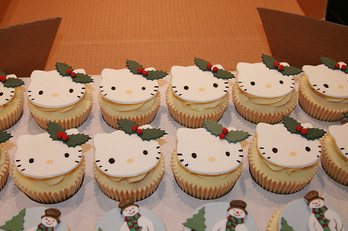 Hello Kitty Christmas Cupcakes