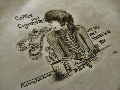 flickingfire:  I decided to upload my drawing of Christofer Drew Coffee and Cigarettes is my favorite song<3 btw this was done with pencil, pen and glitter..but the glitter looks better in person aha  omg how did this get so many notes?? :']