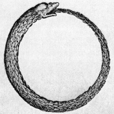 The Ouroboros is an ancient symbol depicting a serpent or dragon eating its own tail, representing the perpetual cyclic renewal of life.