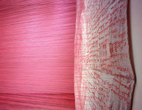 alecshao:  Do-Ho Suh, Paratrooper (The threads are attached to a cloth of embroidered signatures of soldiers who died in war)