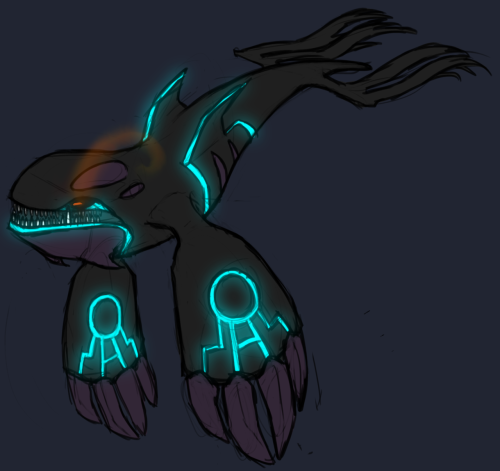 obeytheowl:  if kyogre was a rogue no fading marking colors like with rayquaza because i figure the trio master that calms her brothers should have exponentially more willpower kyogre and groudon would have succumbed much faster ill do groudon tomorrow because i've had it with tumblr tonight