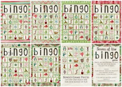 How about a Christmas BINGO game to give as neighbor gifts… or to play as a family during these holidays season? Never too Late! :D click here to download and print it out!