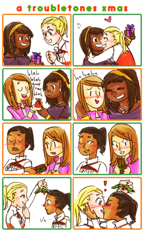 the troubletones do a secret santa… and are adorable about it. —- welp. this is late and stuff but… HAPPY HOLIDAYS EVERYONE!!! :)