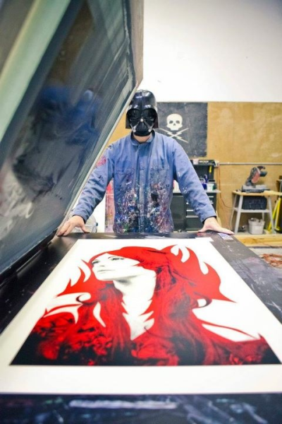 Blunt Graffix printing session with artist Matt Dye, photographer Todd Cooper, Sharon Tate and Lord Vader.  www.bluntgraffix.com
