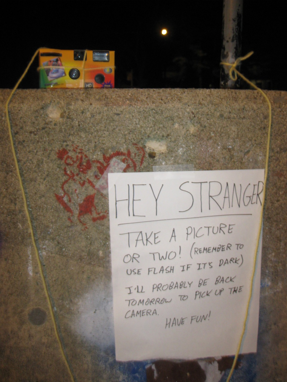 Last year I tied a disposable camera to a fence and left a little sign telling people to take pictures.  This is part 1 of the results. [Part 2] [Part 3] (includes two pixelated testicle shots) This idea was stolen from The Plug, a fantastic online zine that you should definitely peruse.