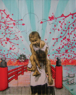 Over the Sakura Bridge - mixed media on popsicle sticks   Filibata Art Walk, Sining Kamalig   December 2011