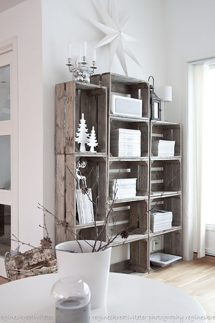 Great way to recycle old wooden crates and make it into a decorative shelf