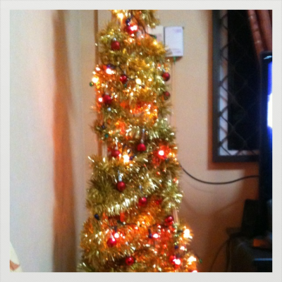 Our Christmas tree. Designed uniquely by my beloved dad