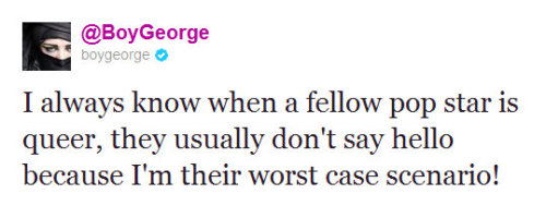 Tweet Of The Week: Boy George Who is he talking about this time?