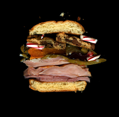 Boxing Day Sandwich AKA Christmas Leftover: Ham, Dark Meat Turkey, Mashed Potatoes, Green Beans, Sweet Potato Pie, Cranberry Sauce, Santa's Cookies, Candy Canes, On a Dinner Roll. Scanned for NOWNESS!
