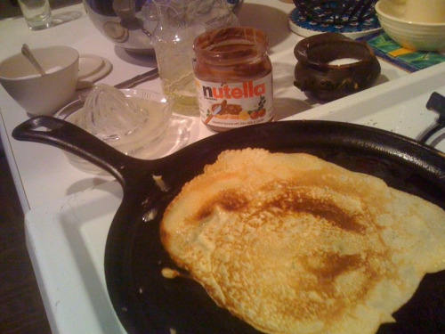 Celebrating a lazy day in with crepes! (Recipe from the Paris Cafe Cookbook).