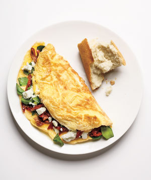 Spinach - Feta Cheese - Sun Dried Tomato Omelet … Perfect for the New Year's Breakkie! Make!!