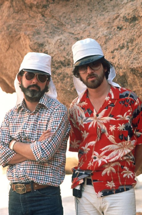 "allyouneedismovies:  George Lucas and Steven Spielberg on the set of ""Raiders of the Lost Ark"" (1981)"