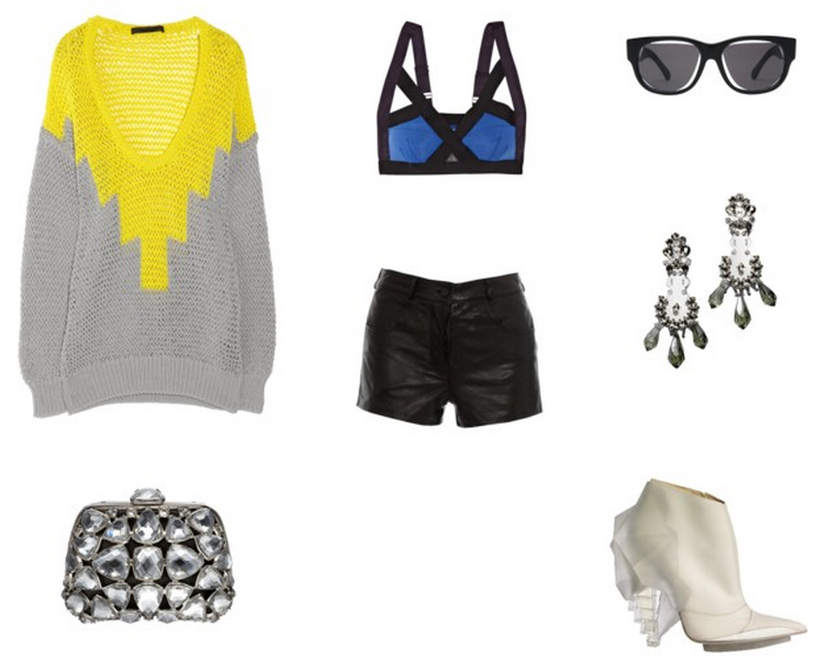 Alexander Wang sweater (sleeves pushed up) + shortsVPL braDior clutchMargiela sunglassesPrada earringsBalenciaga booties