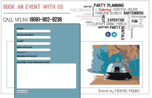 "I designed this site for my brother Michael, a bartender and event planner based in New Jersey. I designed it in Illustrator and ""built"" it on Adobe Muse.  Check it out: Events by Molina"
