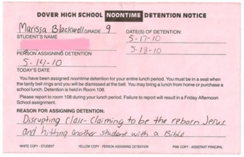 Detention Notice  It's the best gift Jesus could have asked for.