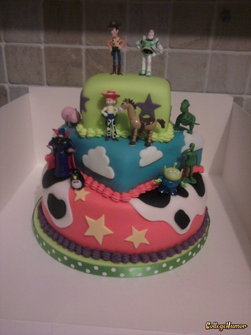 collegehumor:   Toy Story Cake   Eat to infinity and beyond!    There's a snake in my boot.