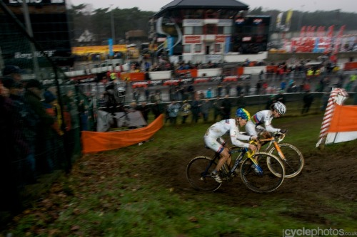 Marianne Vos & Daphny van den Brand, Heusden-Zolder CX World Cup 2011 Photo from Cyclephotos.co.uk - see more of his fantastic pics of the Heusden-Zolder World Cup 2011