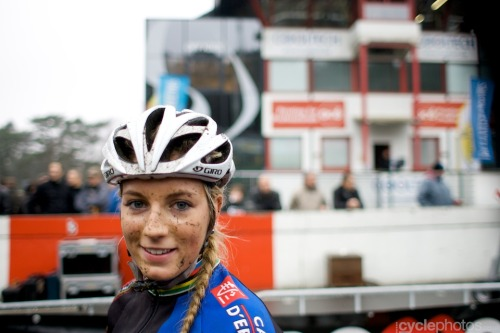 Pauline Ferrand-Prévot, just after Heusden-Zolder CX World Cup 2011 Photo from Cyclephotos.co.uk - see more of his fantastic pics of the Heusden-Zolder World Cup 2011