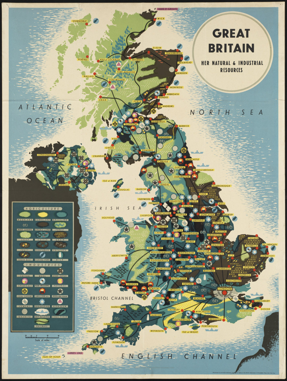 Great Britain. Her natural and industrial resources  Infographic map of Great Britain made in late 1930s, at Boston Public Library:  Title: Great Britain. Her natural and industrial resources Created/Published: New York City : Distributed by the British Information Services, an agency of the British Government Date issued: 1939-1945 (approximate) Physical description: 1 print (poster) : color Summary: Map of Great Britain's resources. Genre: Travel posters; Prints; Maps Notes: Title from item. Location: Boston Public Library, Print Department Rights: Rights status not evaluated  [Link]