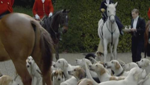 noisy bloody foxhounds. they hunt on Boxing Day, of course. I'm likely in by the fire with a juicy bone, after going missing. better safe inside than running with this lot.