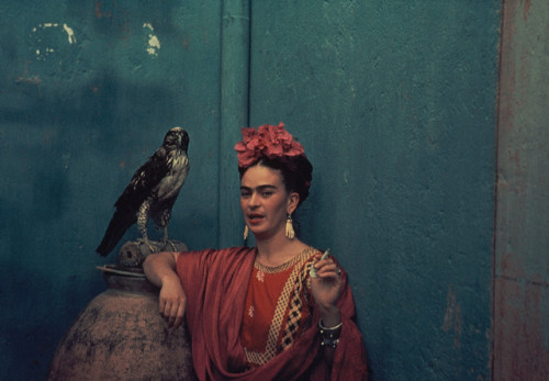 Frida Kahlo looking hip with a Falcon