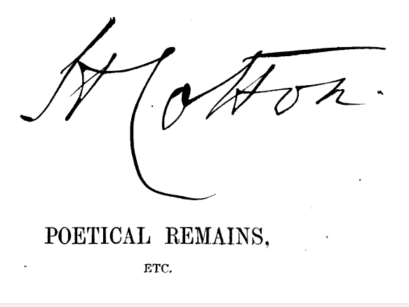 Large signature on title page. From Poetical Remains of French Laurence, D.C.L., M.P. and Richard Laurence, D.C.L., Archbishop of Cashel, ed. Henry Cotton (1872).