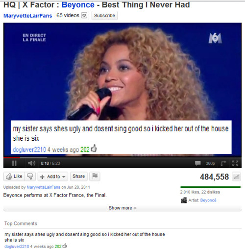 25 YouTube Comments That Are Actually Funny   http://www.buzzfeed.com/mjs538/25-youtube-comments-that-are-actually-funny