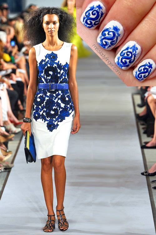 MANICURE MUSE: Oscar de la Renta SP'12 Oscar de la Renta has always been one of my all-time favorite designers, so you can imagine how excited I was to work behind the scenes as a design intern in the same room as The Man, himself. Let me tell you, he's even more charming in person. Watching him work his genius is something I feel truly fortunate to have experienced. His Spring '12 collection showed something for every woman from full skirted sundresses, to evening ball gowns… and even chic sheaths for a certain Miss Ladyfinger. This look is one of my favorites. To emulate, I used Blanc by Essie, True Blue by Orly Instant Artist, and a black nail art pen.   (Photo: Elle.com)