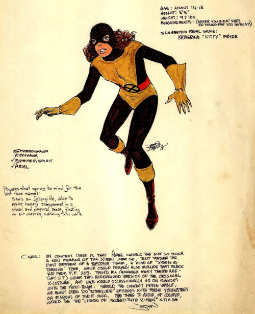 Design sheet by John Byrne for Kitty Pryde prior to her beng introduced in UNCANNY X-MEN.