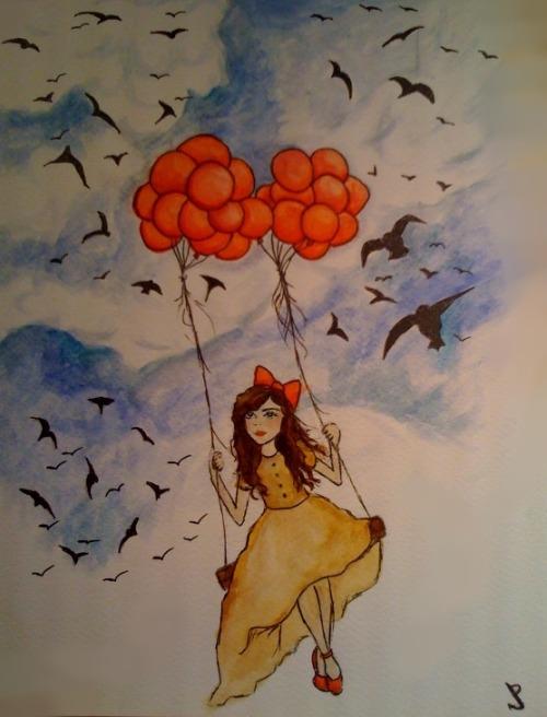 watercolor swing balloons balloons in sky jenni potts girl on swing flying birds