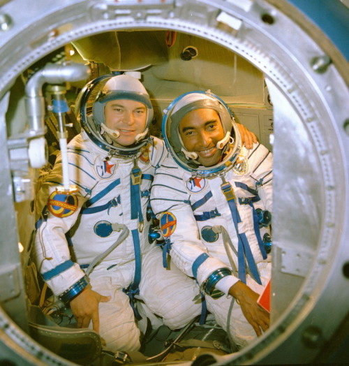 Yuri Romanenko and Arnaldo Tamayo Méndez (Cuba) training for Soyuz 38. Méndez became the first Hispanic in space. (1980) (Source)