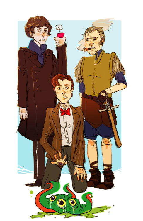 tregetour:  oh gosh its my three favorite fictional guys what a coincidence. Sam: Bloody wizards messing about again… Sherlock: Please, obviously a secret government genetic experiment… Doctor: Some sort of alien maybe? *CUE EXPLOSIVE ARGUMENT*