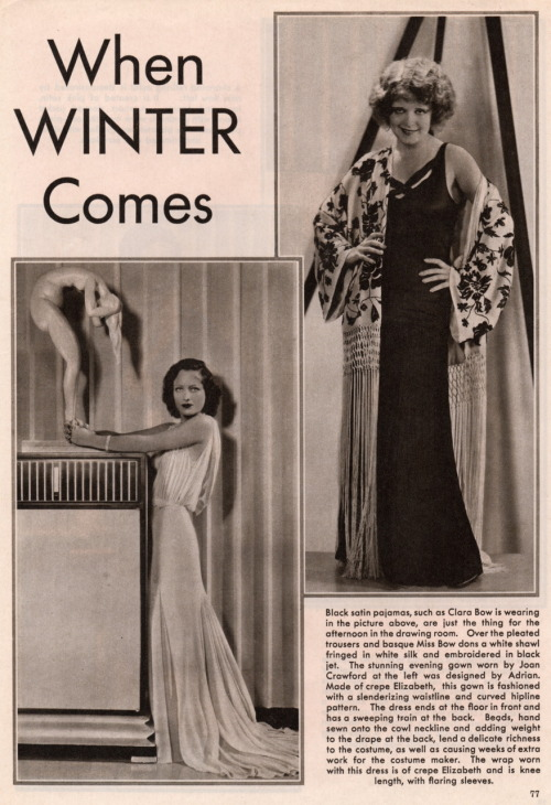 "clarabowarchive:  ""When Winter Comes"" fashion featuring Clara Bow and Joan Crawford circa 1930 (1)."