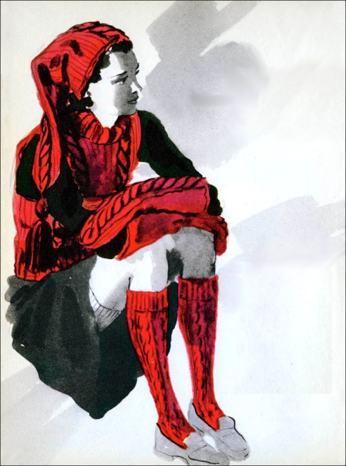 the 1940s-1941 teen hand-knit  cap, jerkin and socks (by april-mo)