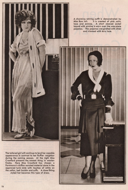 "clarabowarchive:  ""When Winter Comes"" fashion featuring Clara Bow and Joan Crawford circa 1930 (2)."