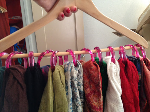 Shower rings + Hanger = Scarf Organizer I can't believe I've never thought of this. via from the desk