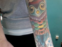 fuckyeahtattoos:  I absolutely adore owls and I figured why not make it a little different than every other owl tattoo, so I added microdermals to his eyes. Tattoo done by Matt Rosenthal at Tattoo Nation in Wayne, NJ. Piercings by Lou Quino at Pleasurable Piercing in Hawthorne, NJ.